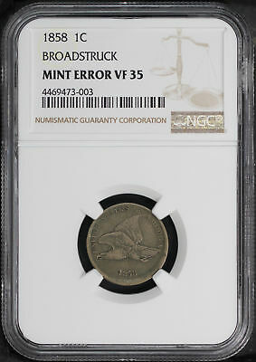 1858 Flying Eagle Cent Broadstruck Mint Error NGC VF-35 -171366