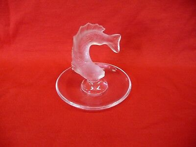 Lalique Frosted Crystal Leaping Koi Fish Ring Dish (Signed)