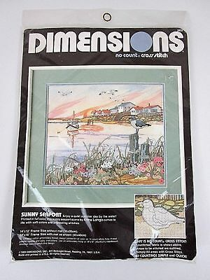 Dimensions 1989 SUNNY SEAPORT  No Count Cross Stitch Kit #3932 NEW