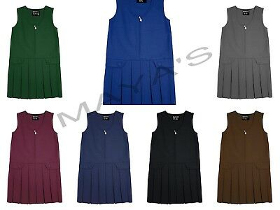 Girls School Pinafore Box Pleated Skirt School Uniform Elasticated Waist Dress