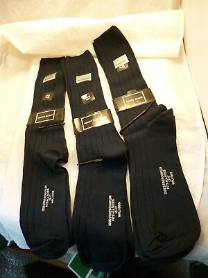 3 Pierre Cardin Stretch Nylon Dark Blue Dress Socks Fits 13-17 Usa Nos