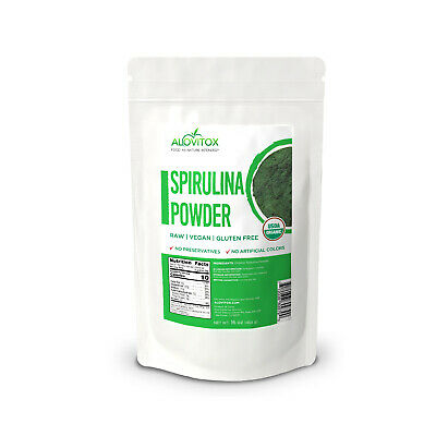 USDA Certified Organic Pure Whole Food Spirulina Powder, 16 oz Bag by Alovitox