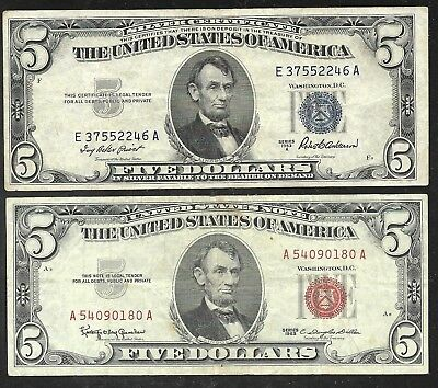 US - Two $5.00 Silver Cert. & Legal Tender Notes - 1953A & 1963 - VF