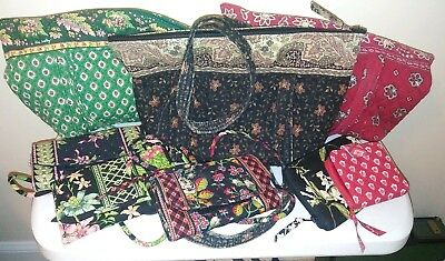 Lot of 8 Eight Retired Vera Bradley Hand Bags Purses Wallets Patterns  Used