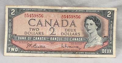 1954 $2 Bank Of Canada Ottawa $2 Note / Bill! No Reserve!