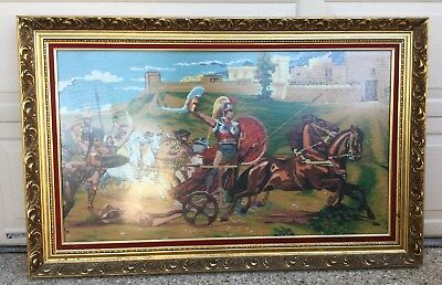 Large Ornate Gold Framed Vintage Petit Point Roman Chariots Racing