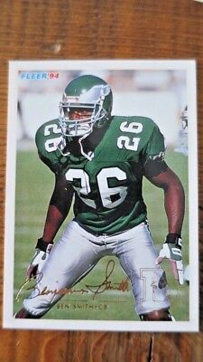 Ben Smith Eagles Autographed 1994 Fleer #377 Football Card