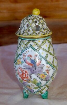 Antique 18C Chinese Porcelain Perfume Shaving Brush Cup with Cover