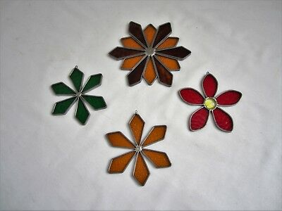 4 Vintage Leaded Stained Glass Flowers Stars Window Art Suncatcher Ornaments
