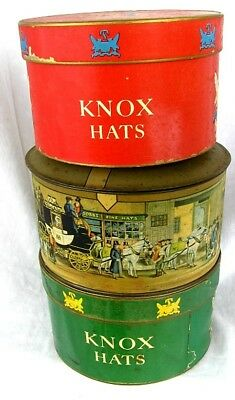 ANTIQUE HAT BOXES with HATS *MINIATURE* 2 KNOX - 1 TIN DOBBS !NICE!
