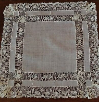 Vtg Antique French Valenciennes Lace Wedding Bridal Handkerchief Heirloom 14""