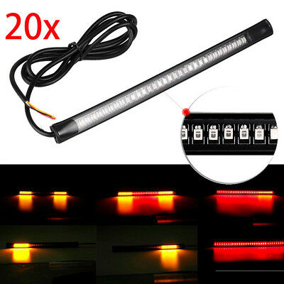 20Pcs Motorcycle LED Light Strip Tail Brake Stop Turn Signal 48SMD Plate Lamps