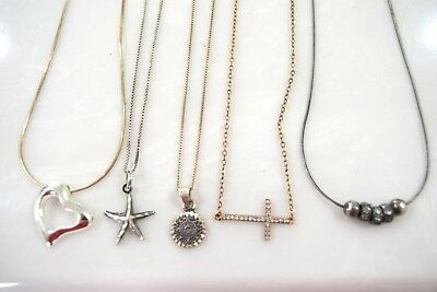Lot Of  5 Vintage Sterling Silver Chains With Pendants Necklaces 23   g