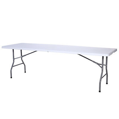 8FT White Portable Folding Table Indoor Outdoor Camp Party Picnic Table New