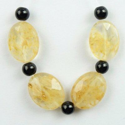 4Pcs/Set Faceted Yellow Rock Crystal Oval Pendant Bead 17x14x6mm L45357