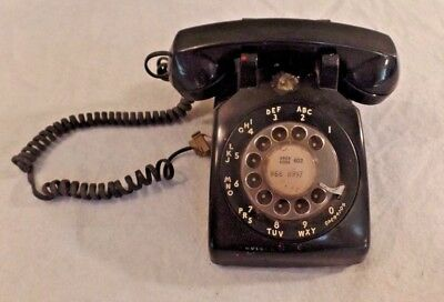 Vintage Bell System Western Electric 500mm Black Rotary Dial Telephone
