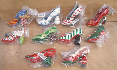 Department 56 Lot of 10 High Heel Shoes Christmas Tree Ornaments New in Package