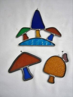 3 Vtg Leaded Stained Glass MUSHROOMS Window Art Hanging Suncatcher Ornaments