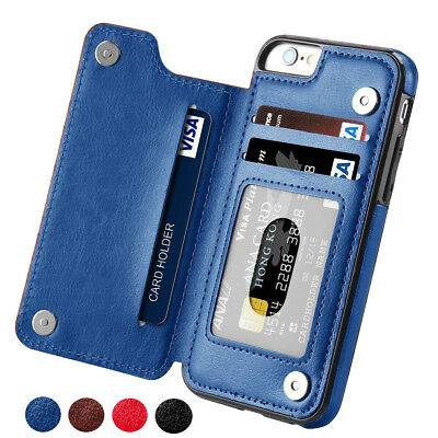 Leather Flip Wallet Card Holder Stand Case Cover For iPhone Xs Max Xr X 8 Plus