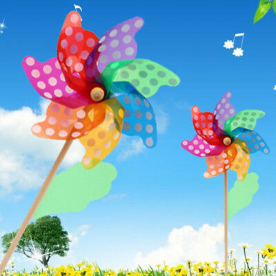 AU 12/18/24/32cm Colorful Wooden Handle Windmill Home Garden Party Kids Fun Toy