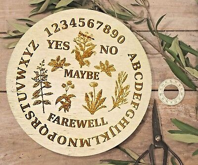 Wooden Round Ouija Board & Planchette w/ Herbal, Floral, Plants, Flowers, Wiccan