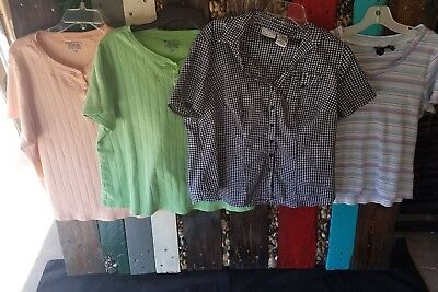 Women's Size 1X Short Sleeve Summer Top Lot 4 Pieces Total Basic Editions