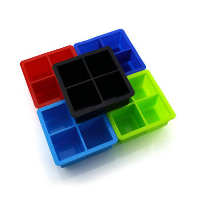 Big 4 Giant Jumbo Large Size Silicone Ice Cube Mold Square Tray Mould DIY New TR