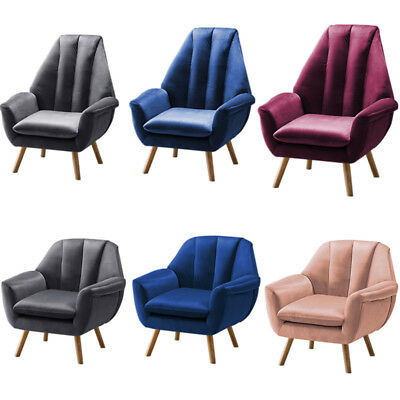 Velvet Occasional Lounge Accent Chair Fabric Armchair Modern Bedroom Living Room
