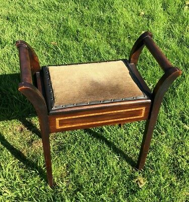 Antique Vintage Beautiful Wooden Piano Stool With Lift Up Top *