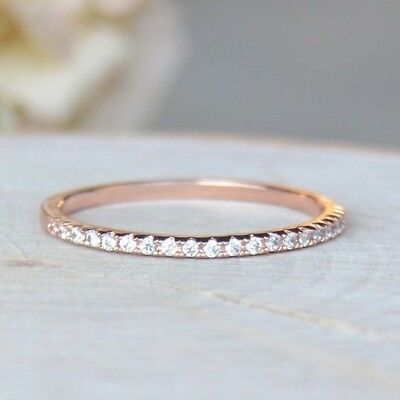 18K Rose Gold Plated White Topaz 925 Silver Women Jewelry Engagement Ring Sz5-10