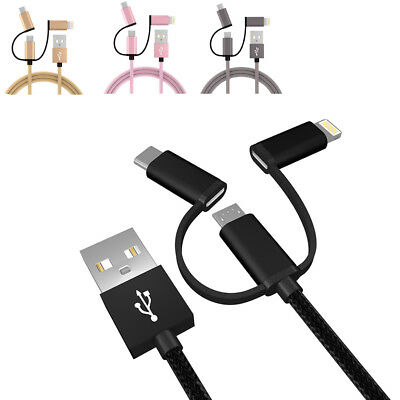 3in1 Type C/Micro USB/Braided Lightning cables Data Sync Fast Charging UNIVERSAL