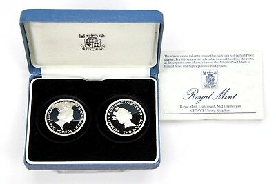 1989 Silver Great Britain 2 Pound Bill/Claim 2 Coin Proof Set with Box & COA