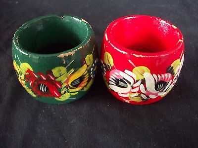 NAPKIN RINGS x 2 Canal Bargeware Wooden Round Rings Red Green Bold Floral Multi