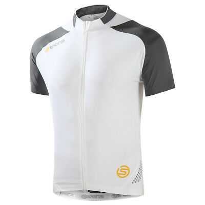 SKINS C400 Mens Cycling Short Sleeve Jersey NEW Compression - White/Grey - Large