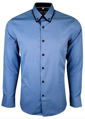 MENS DOUBLE COLLAR TEXTURED SHIRT LONG SLEEVE FORMAL DRESS CASUAL £17.99 406