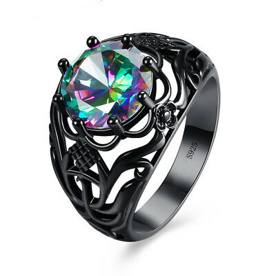 925 Silver 14kt Black Gold Filled Rainbow Topaz Ring Wedding Jewelry Size 6-10