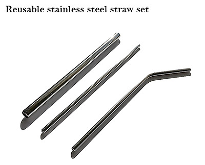 Reusable Stainless Steel Straw Smoothie straw set with brush