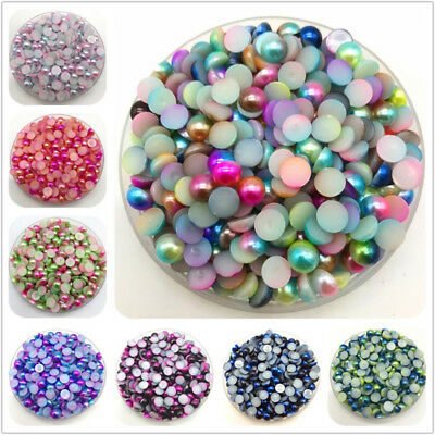 3/4/5/6/8mm Colorful Flat Beads Pearls Half Round Pearl Bead Flat Back Scrapbook