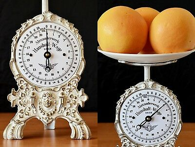 Vintage, Old Style, Antique, Shabby Chic, Renovated German Kitchen Scale WHITE