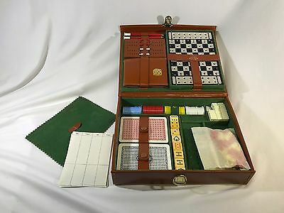 Vintage Cribbage Poker Dice Dominos Travel Game Set Real Hide Made In England