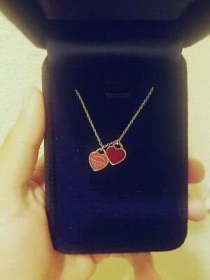 """Return to Tiffany and Co Double Heart Pendant RED Enamel 16"""" Sterling Silver NEW"""