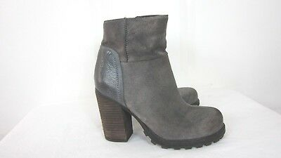 62465997f52728 Sam Edelman Women s Franklin Grey Brushed Suede chunky heel ankle boots Sz  ...