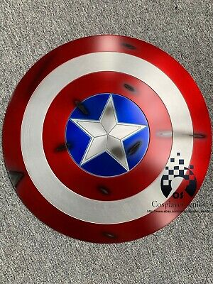 NEW! 60CM Captain America Shield 1:1  Full Aluminum Metal BATTLE DAMAGE Cosplay