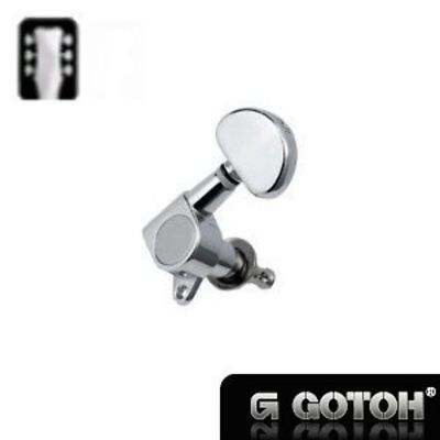 New Guitar Parts Gotoh 3L3R Tuners, Large Round Button - Chrome