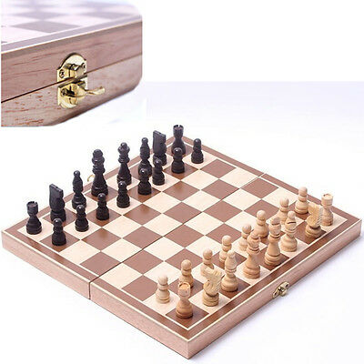 Wooden Chess Set Pieces wood International Chess Set Mini Chess Toys Gift AU*