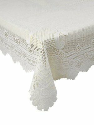 """Traditional Floral Cream Lace Stain Release Table Cloth 36"""" Square £7.78 Each"""