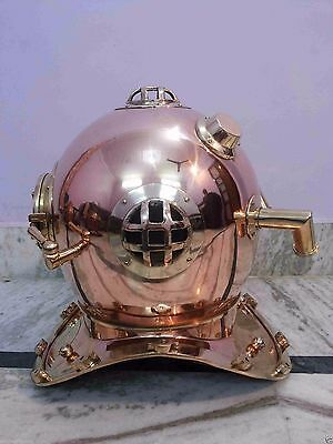 Solid Copper & Brass Diving Divers Helmet U.S Navy Mark V