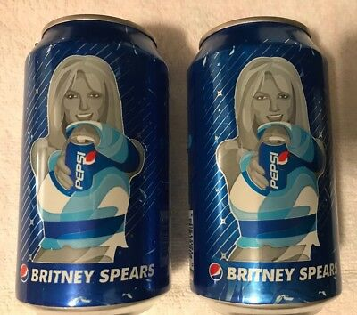 Britney Spears 2 Pepsi Cola Cans 2018 Empty