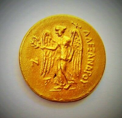 Gold Greek Coin Alexander III Helmeted Head of Athena Nike Half Stater Antique