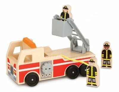 Melissa  Doug Wooden Fire Engine With 3 Firefighter Play Figures